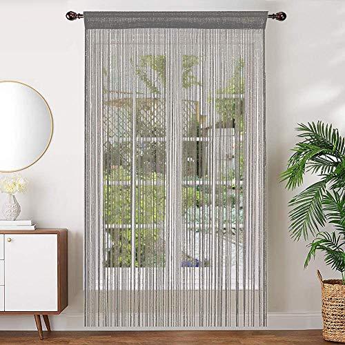 AIZESI 2 Stück Fadenvorhang Gardinen 90 x 200cm FadenGardine Insektenschutz Türvorhang Trennwand Fenster Vorhang Schlafzimmer Wohnzimmer(Silber)