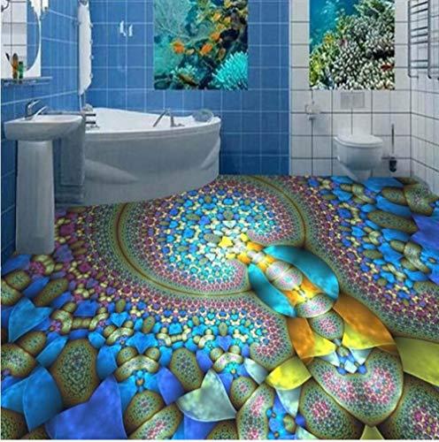 3D stereo aangepaste vloerbedekking, met fantasie spiraal, waterdicht, anti-slip, dikke vloerdecoratie 200 x 140 cm.
