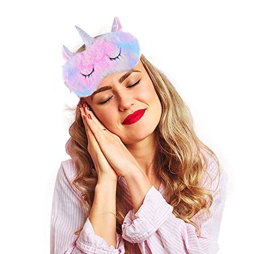 Ulife Mall Unicornio Máscara de Sueño, Antifaz para dormir, Seda Natural Máscara de Ojos Antifaz de Dormir de Felpa Suave Sombra para Dormir para Mujeres y Niñas Viajar Hogar Oficina Descansar