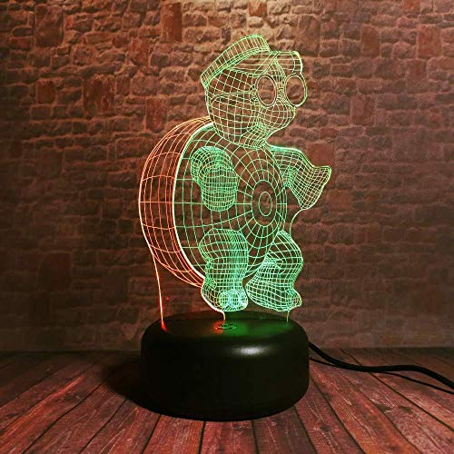 Turtle Master 3D Night Light Kids Lampe de chevet 16 Changement de couleur Touch Table Lampe de bureau avec câble USB pour bureau Enfants Chambre Décoration Enfants Anniversaire et cadeaux de Noël