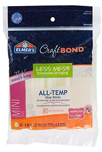 """Elmer's CraftBond Less Mess All-Temp Mini Glue Sticks, 4"""" x 0.27"""", 1 Packs of 80"""