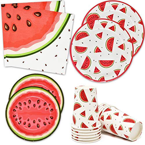 Watermelon Party Supplies Tableware Set 24 9quot Plates 24 7quot Plate 24 9 Oz Cups 50 Lunch Napkins Pink Green Melon Fruit Slice Disposable Paper Goods for Summer Picnic Baby Shower amp Birthday Party Décor
