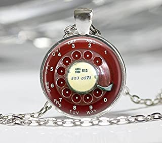 handmade Jewelry, Red Telephone Dial Necklace, Vintage Phone Pendant