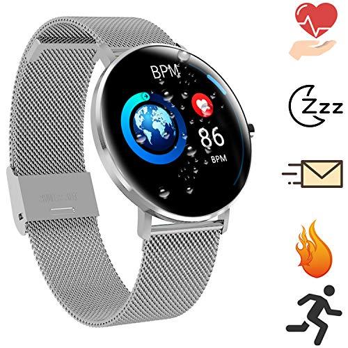 Smartwatch Full Round Touchscreen Fitness Tracker - Multi-Sport-Modus Herzfrequenz Schlafmonitor IP68 Wasserdicht Smart Bracelet Sync für Android und iOS (Silber)