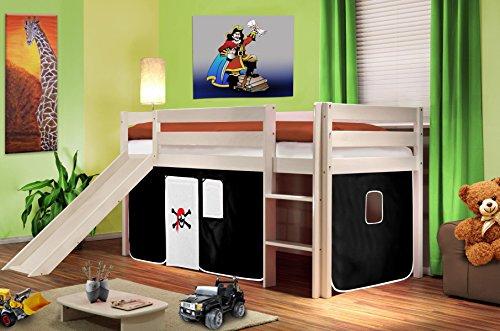 SixBros. Hochbett Kinderbett Spielbett mit Rutsche Massiv Kiefer Weiß - Pirat Schwarz/Weiß - SHB/02/1032