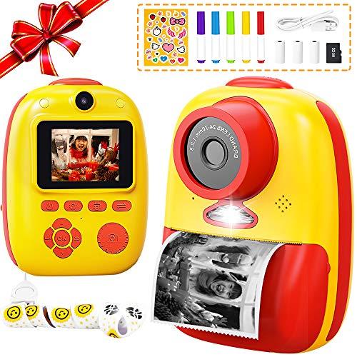 子供用プリントカメラ 子供用デジタルカメラ トイカメラ サーマル加熱仕組み 前後2600万画素 10倍ズーム 1080P FHD動画 自撮可能 連続撮影 タイムラプス撮影 1000mAhのバッテリー USB TYPE-C充電 2インチIPS画面 日本語説明書付き 32G SDカード付き 子供のおもちゃ ミニカメラ 子供プレゼント 知育 教育 7+歳以上