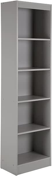 South Shore Narrow 5 Shelf Storage Bookcase Soft Gray