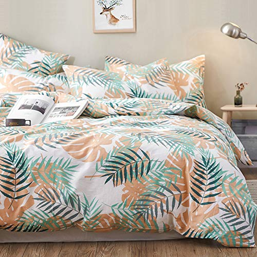 mixinni Tropical Green Leaf Pattern Duvet Cover Set 100% Cotton Bedding Beige Palm Print Duvet Cover for Him and Her with Zipper Closure Ties,Ultra Soft and Easy Care (3pcs, Queen/Full)