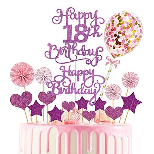 Torta Toppers de Cumpleaños Decoración, Cake Topper 17 Piezas Toppers de Pastel adorno para tarta Torta Toppers para cupcakes, postres, para fiestas de bebés, cumpleaños infantiles (Púrpura)