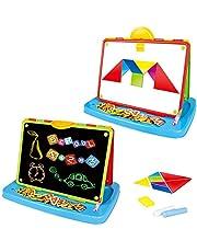 deAO Kinderkunst tekening, Doodle tafelblad 2in1 dubbelzijdige planken - schoolbord en magnetisch whiteboard met krijt en magneten