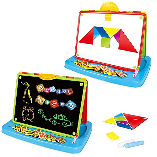 deAO Childrens Art Drawing Doodle Tabletop 2in1 Double Sided Boards -...