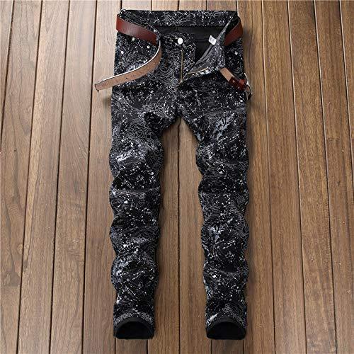 WQZYY&ASDCD Jeans Vaqueros Pantalon Fashion Hole Jeans Pantalones De Mezclilla Desgastados De Motociclista Flacos Rasgados para Hombres 30Winch 5614