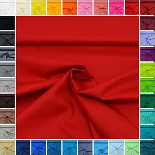 MAGAM-Stoffe Sophie Baumwollstoff Uni 100% Baumwolle Oeko-Tex Meterware 50cm (08. Erdbeer-Rot (120g / 145cm))
