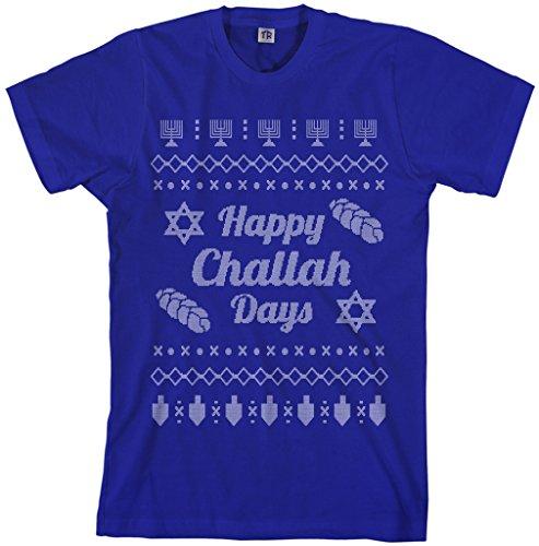 Threadrock Men's Happy Challah Days Ugly Sweater T-Shirt 2XL Royal Blue