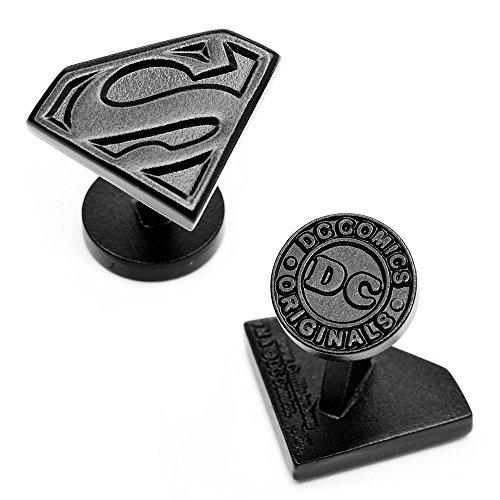 DC Comics Satin Black Superman Shield Cufflinks, Officially...
