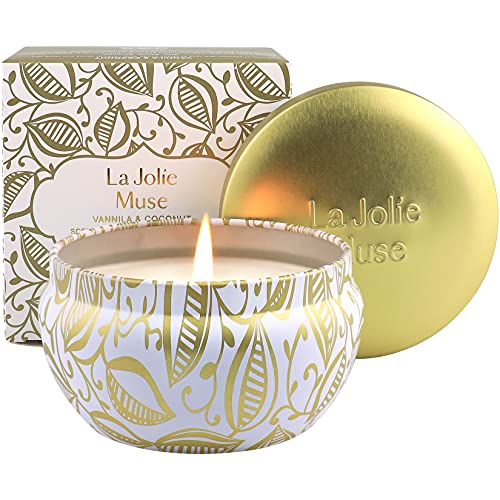 La Jolie Muse Candela Profumata alla Vaniglia con Noce di Cocco per la Cera 100% Naturale di Soia per Lo Stress Antistress Viaggio 35-45 Ore