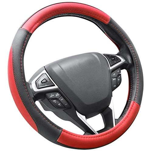 SEG Direct Black and Red Microfiber Leather Auto Car Steering...