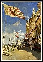 油絵 数字キットによる絵画 塗り絵 大人 手塗り DIY絵 デジタル油絵 初心者と大人がキャンバスに番号でペイントすることを目的 - クロード・オスカー・モネ:トゥルーヴィルのホテル・デ・ロシュ・ノワール・トルーヴィル