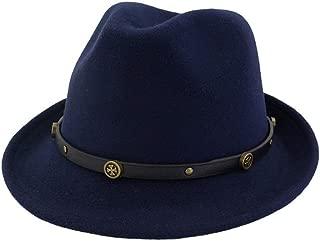 Fascinator Jazz Hat Size 56-58CM Women Men Fedora Hat with Leather Belt Winter Wool Hat (Color : Drak Blue, Size : 56-58)