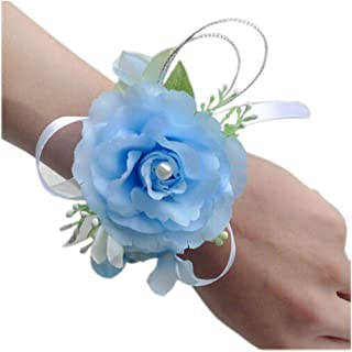 Arlai Wrist Corsage Wristband Roses Wrist Corsage for Prom, Party, Wedding Light Blue