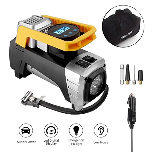 Geker Luchtcompressor voor auto, 12 V, 150 psi/10 bar, luchtpomp met LCD-display en led-lamp, bandenpomp, digitale mini-compressor, voor auto, fiets, bal