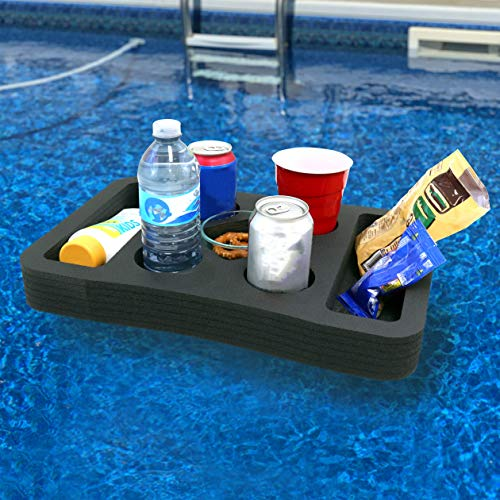 Polar Whale Schwimmender Getränkehalter, Erfrischungstisch, Tablett für Pool, Strand, Party, Float Lounge, langlebig, schwarzer Schaumstoff, 7 Fächer, UV-beständig