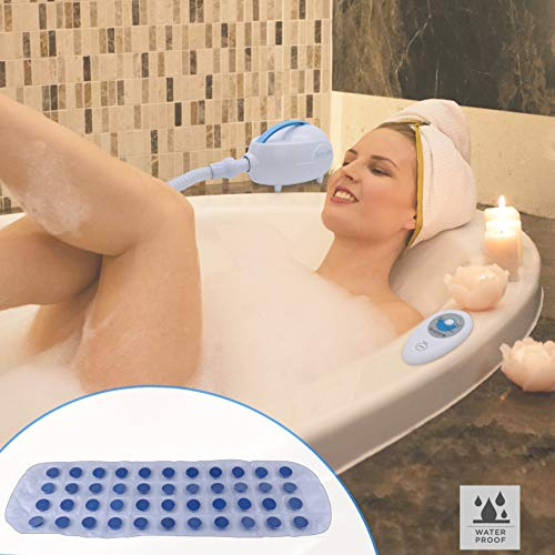 Electric Bathtub Bubble Massage Mat - Waterproof Tub Massaging Spa, Full Body Bubbling Bath Thermal Massager Machine w/ Heat, Motorized Air Pump, Aroma Clip for Oil - SereneLife PHSPAMT24HT