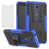 Phone Case for Nokia 6.1 / Nokia 6 2018 with Tempered Glass Screen Protector Cover and Stand Kickstand Hard Rugged Hybrid Protective Cell Accessories Nokia6.1 TA-1045 Cases Women Men Boys Black Blue