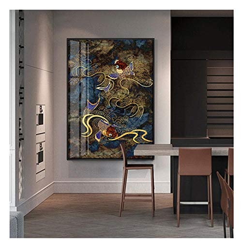 zhaoyangeng Traditionelle Schriftrolle Chinesische Malerei Druck Auf Leinwand Poster Und Drucke Rote Koi Karpfen Wandbilder Für Wohnzimmer - 50X70Cm Ohne Rahmen
