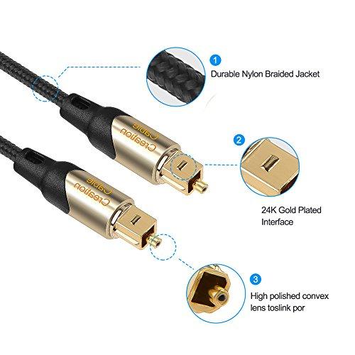 光デジタルケーブル,CableCreationスリムなToslink光デジタルオーディオケーブルSPDIFオーディオケーブルホームシアター、サウンドバー、テレビ、PS4、Xbox、VD/CDプレーヤー、Blu-rayプレーヤー、ゲームコンソールなどに対応金属コネクタ付きの編組みファイバーケーブルブラック&ゴールド/4.5M