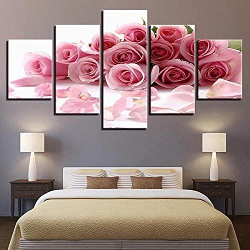 BDFDF Stampe E Quadri su Tela 5 Pezzi Moderni Quadri Bouquet di Rose Rosa Pink Quadri Multipannello - 5 Pannelli - Quadri Moderni Soggiorno Poster HD Modulari Decorazioni per La Casa