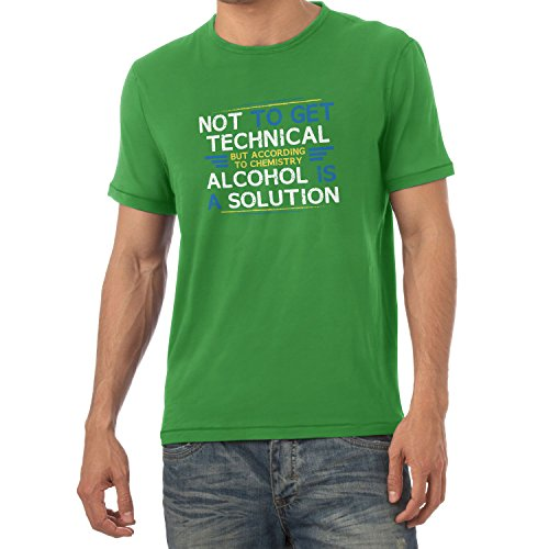 Texlab According to Chemistry Alcohol is a Solution - Herren T-Shirt, Größe XXL, grün