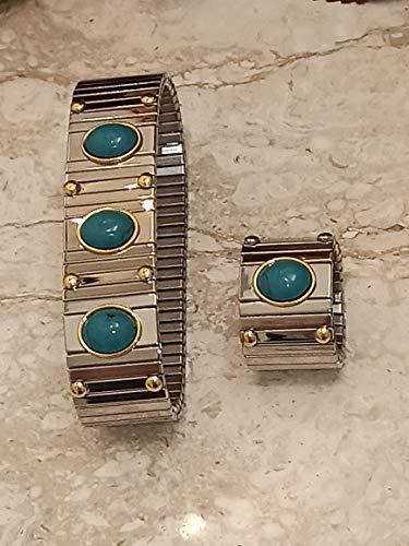 Juego de pulsera y anillo de turquesa de 9 quilates para mujer, joyería de piedras preciosas para ella, hecha a mano, anillo clásico Braclett, joyería para madre, esposa