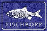NWFS Dicho Fischkopp Pescado Pesca Vea Letrero de Metal Placa de Metal Signo de Metal Tin Sign Arqueado Barnizado 20 X 30CM