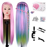 MYSWEETY 29 Inch Colorful Hair Mannequin Head Hairdressing Practice Training Doll Heads Cosmetology Hair Styling Mannequins Heads with Clamp + Practice Tools(PINK)