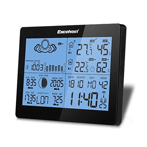 Excelvan Wetterstation mit präziser Wettervorhersage, Anzeige von Temperatur, Luftfeuchtigkeit, Sonnenauf- und untergang, Luftdruck und Wettersymbolen, 2 Alarmfunktionen