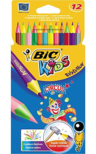 BIC Lot de 3 Etuis de 12 crayons de couleur KIDS EVOLUTION CIRCUS 12 Couleurs