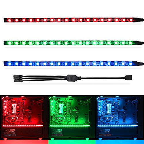 WOWLED RGB LED Strip Magnetic for PC Case Mods, Compatible with Asus Aura Sync / Gigabyte RGB Fusion / MSI Mystic Light and M/B with 12V 4pin RGB Header, 5050 Pro Kit