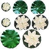8 Piezas Nenúfar Flotante, Flor de Loto Blanca Artificial, Loto de Simulación, para Uso en Piscinas, Acuarios, Escenas de Arroyos (Blanco y Verde)