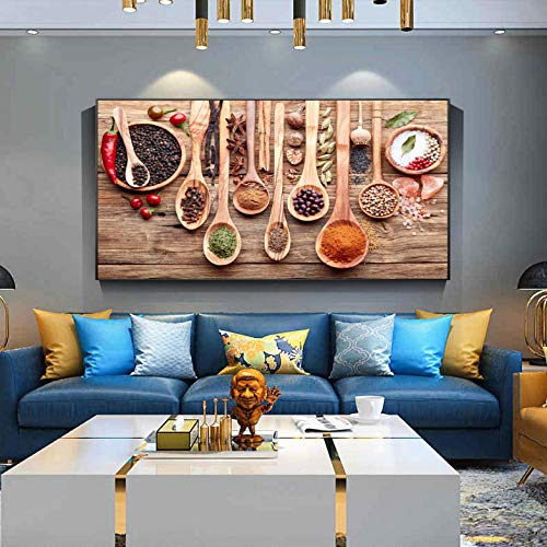 Wieoc Cucina A Tema Wall Art Decor Colorful Spice And Spoon in Table Canvas Paintings Food Concept Stampe su Tela retrò 50X100Cm