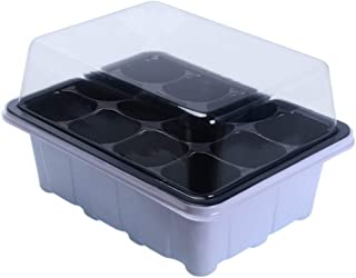Seedling Tray Pack of Seed Sprouting Trays with Lid, 5PSC Indoor Grow Plant Pots with 12 Cells Seedling Trays for Greenhou...