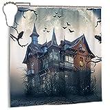 N/W Halloween-Duschvorhänge mit schwarzer Katze & Fledermaus, für Badezimmer, heller Stoff, Nacht-Spukhaus, wasserdicht, mit 12 Haken, 183 x 183 cm