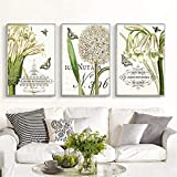 ganlanshu Lirio Blanco rústico Flor Cartel Arte combinación Mariposa Lienzo Pintura Decorativa,Pintura sin Marco,50X75cmx3