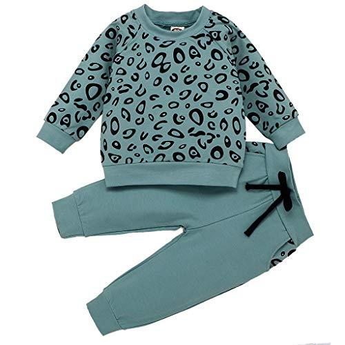 Säugling Kleidung Set Baby Outfits Set Mädchen Jungen Sweatshirts Trousers Kinderbekleidung Leopardenmuster T-Shirt Pullover Tops Hosen Bekleidungsset, Grün, 18-24 Monate