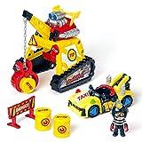 T-Racers Turbo Crane – Grúa con Pinza, 1 piloto y 1 Coche Exclusivo y Accesorios. Pista de Coches de Juguete