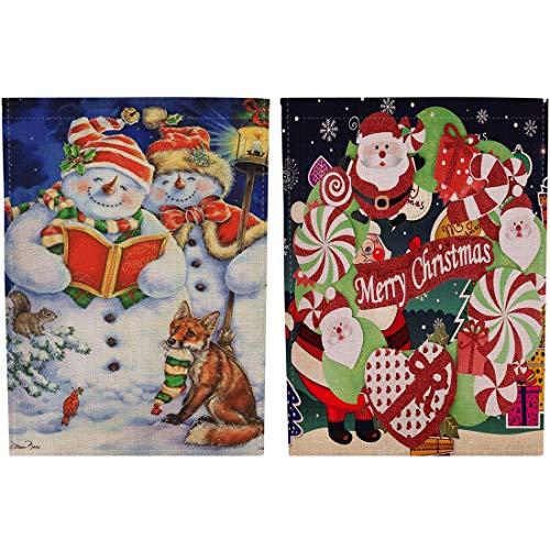Gaoominy Bandera de Jardín de Arpillera de Feliz Navidad Bandera Decorativa de la Chimenea Al Aire Libre de Papá Noel del Césped Vertical de Doble Cara de la Yarda