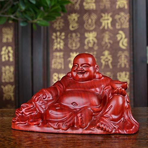 KGDC Figurilla Hecha a Mano Huanghuali Talla de Madera de Buda Sentado Buda de Risa Buda Maitreya Decoración Escritorio Oficina Deco
