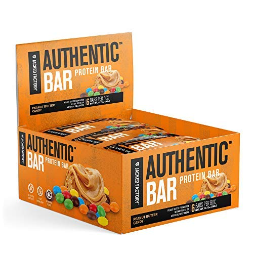 Authentic Bar Peanut Butter Candy Protein Bars - Tasty Meal Replacement Energy Bars w/ 15g Whey Protein Isolate, Natural Sugars from Pure Honey, Healthy Fat Peanut Butter Foundation - 6 Pack