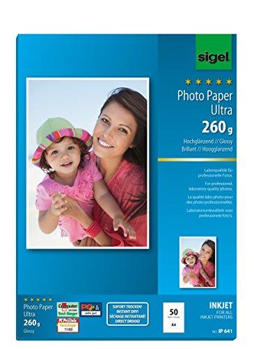 SIGEL IP641 InkJet-Fotopapier Ultra, A4, 50 Blatt, hochglänzend, extrem lichtbeständig, 260 g - auch mit 20 Blatt
