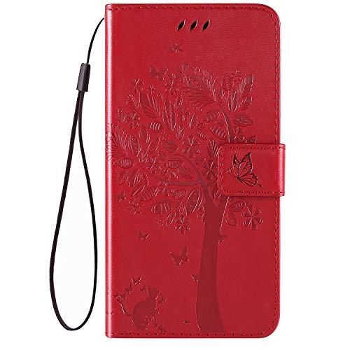QPOLLY Kompatibel für Nokia 4.2 Hülle Leder Tasche Flip Case Katze und Baum Muster Handytasche Magnet Schutzhülle im Brieftasche-Stil mit Kartenfächer Standfunktion,Rot